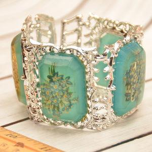 large wide floral cab silver filigree bracelet